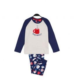 Pijama Family Breakfast marino, blanco