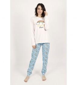 Pijama Manga Larga Rainbow Power blanco