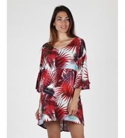 Vestido playa Hojas rojo