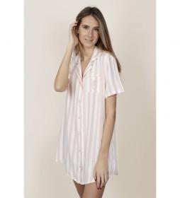 Camisola Manga Corta Stripes para Mujer rosa