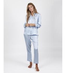 Pijama Satin Dots azul