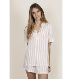 Pijama Manga Corta Abierto Classic Stripes rosa