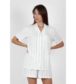 Pijama Manga Corta Abierto Classic Stripes verde