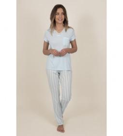 Pijama Manga Corta Classic Stripes para Mujer azul