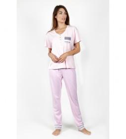 Pijama Manga Corta Small Dots rosa