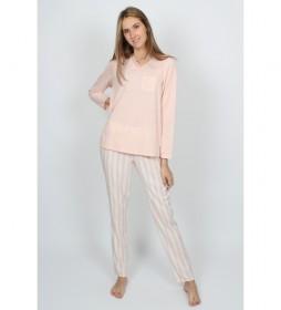 Pijama Manga Larga Classic Stripes rosa