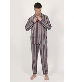 Pijama Manga Larga Garnet Stripes gris