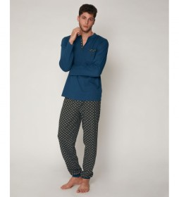 Pijama Green Scarf azul oceano, negro