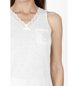 Pijama Tirantes Luxe Stripes blanco perla