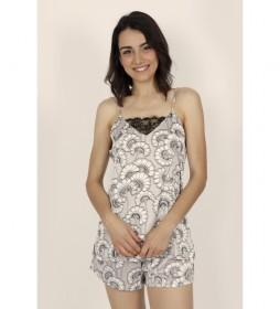 Pijama Tirantes Soft White Flowers para Mujer gris