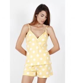 Pijama Tirantes Summer Dots mostaza