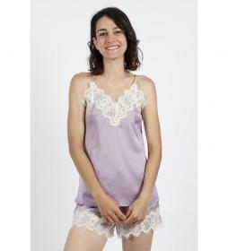 Pijama Tirantes Soft Crepe malva