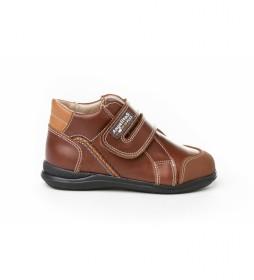 Botines de piel Sport Velcro marrón