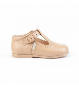 Zapatos de piel Pepito hebilla camel