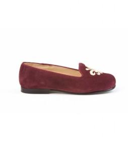 Zapato de piel ante burdeos