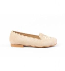 Zapato de piel ante camel