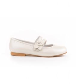 Zapato de Piel Bailarina Flor & Pétalos beige