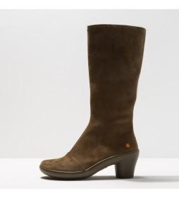Botas de piel 1449 Alfama caqui -Altura tacón 6,5 cm-