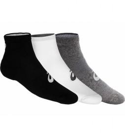 Pack de 3 Calcetines Quarter negro, blanco, gris