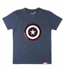 Camiseta Corta Lentejuelas Avengers marino