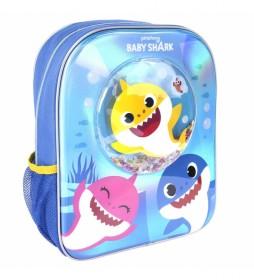 Mochila Infantil Confetti Baby Shark azul -25x31x1cm-