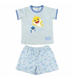 Pijama Corto Single Jersey Baby Shark azul claro