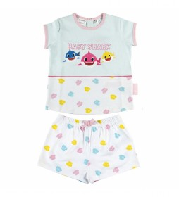 Pijama Corto Single Jersey Baby Shark blanco