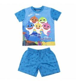 Pijama Corto Single Jersey Baby Shark azul