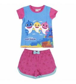 Pijama Corto Single Jersey Baby Shark rosa, azul