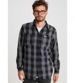 Camisa Cuadros Franela azul, gris