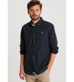 Camisa Mini Print con bordado azul marino