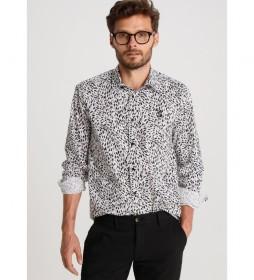 Camisa Popelin Estampado Abstracto blanco, negro