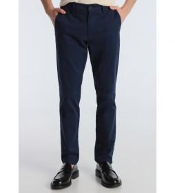 Pantalón Chino Slim Saten azul marino