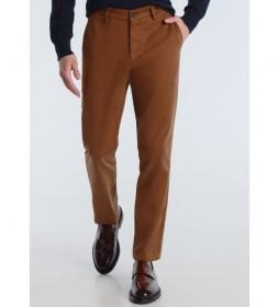 Pantalón Chino Slim Saten marrón