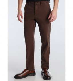 Pantalón Chino Slim Saten marrón oscuro