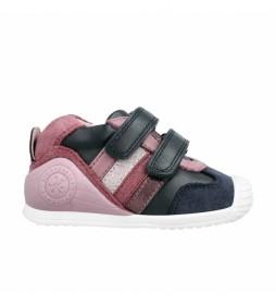 Zapatillas de piel 211125 marino, rosa