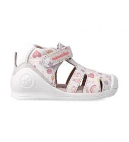 Sandalias de piel 212107 blanco, multicolor
