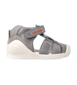Sandalias de piel 212134 gris