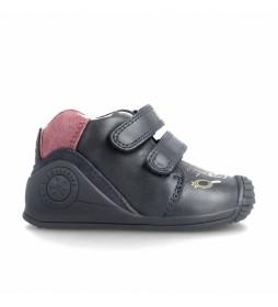 Zapatillas de piel 21112 azul marino