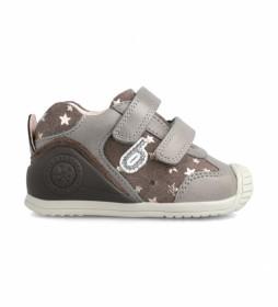 Zapatillas de piel 211129 gris