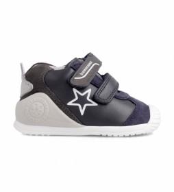 Zapatillas de piel 211145 azul marino