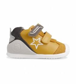 Zapatillas de piel 211145 mostaza