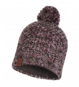Buff Margo knitted and fleece hat grey, lilac / 108g