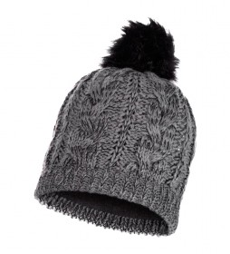 Buff Darla grey knitted and fleece hat / 69g