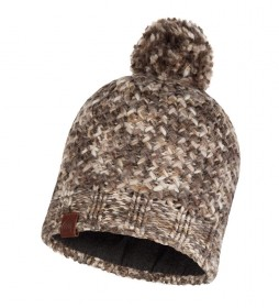 Buff Margo taupe knitted and fleece hat / 108g