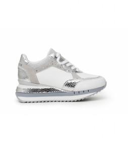 Zapatillas de piel con Detalles Animalier blanco -Altura cuña: 5 cm-