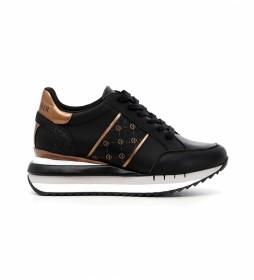 Zapatillas de piel Allacciata negro -Altura cuña: 5cm-