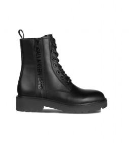 Botas de piel Combat Mid negro