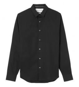 Camisa Logo Slim de Algodón Elástico negro