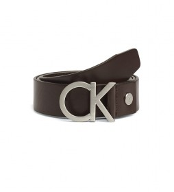 Cinturón de piel con Hebilla marrón